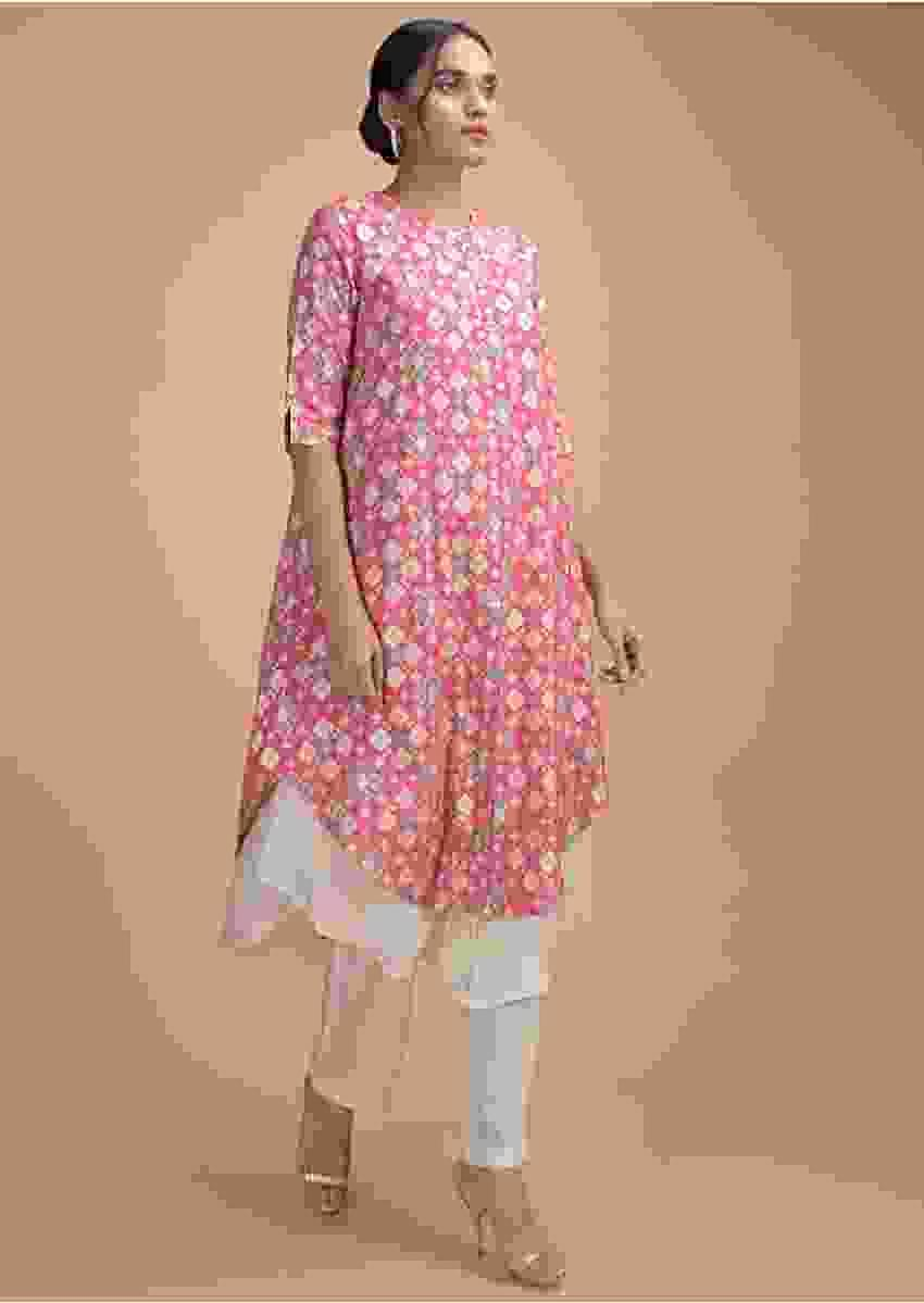 Fandango Pink Layered Kurti With Patola Print And Thread Embroidery Online - Kalki Fashion