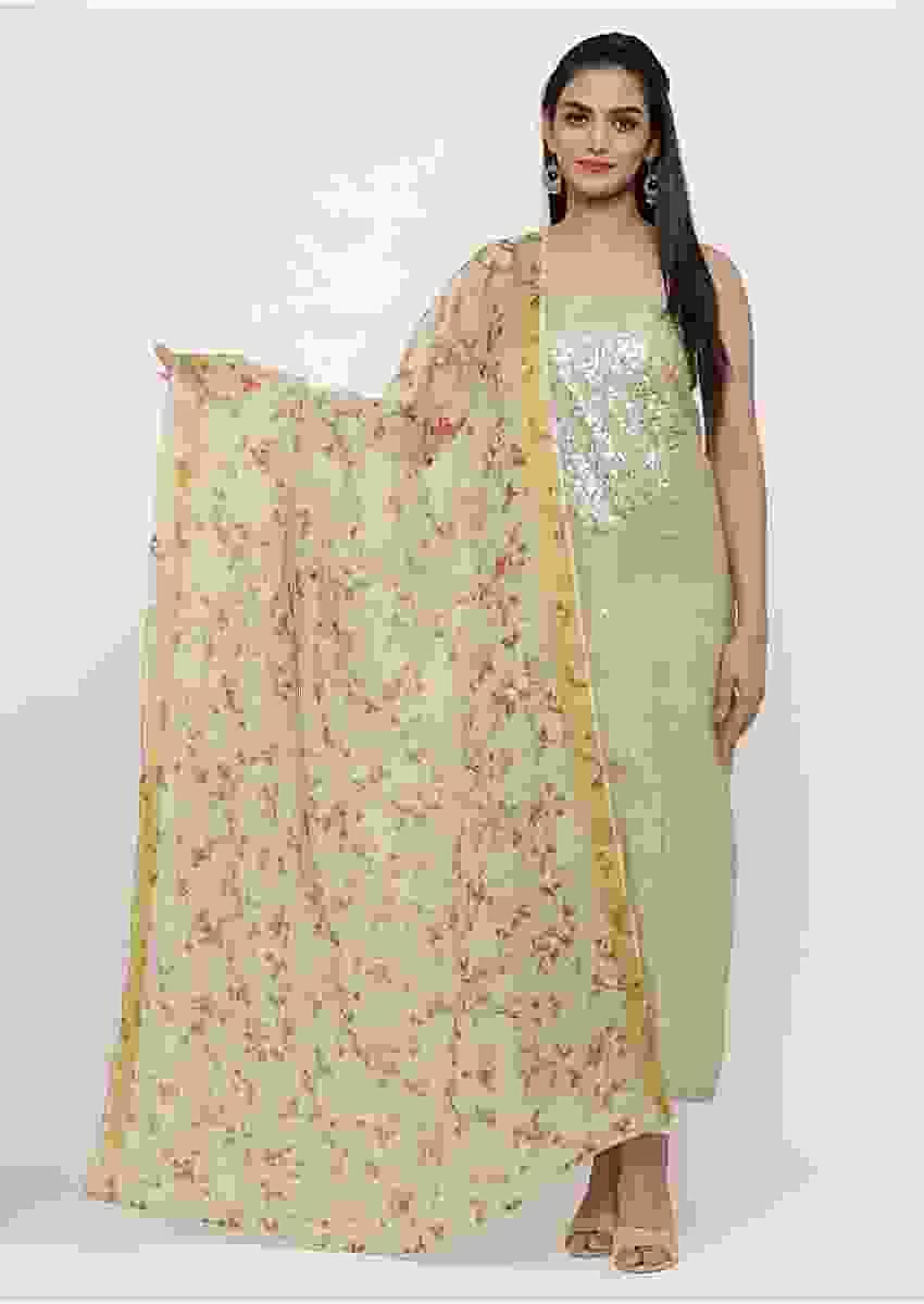 Featuring Moss Green Unstitched suit In Gotta Patch Work Online - Kalki Fashion