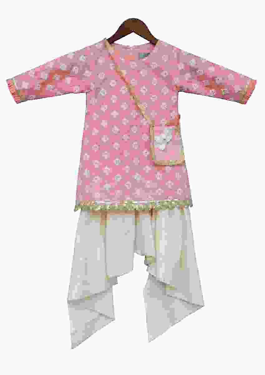 Peach Kurti With Thread Embroidery Teamed With Dhoti Pants by Fayon Kids