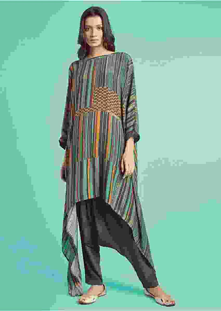 Fern Green Kurta Set With Multi Colored Striped And Checks Pattern And Grey Low Crotch Pants Online - Kalki Fashion
