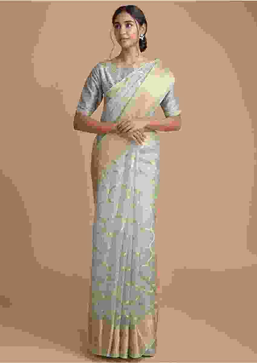 Fern Green Saree In Organza Silk With Weaved Pattern And Gotta Work Online - Kalki Fashion