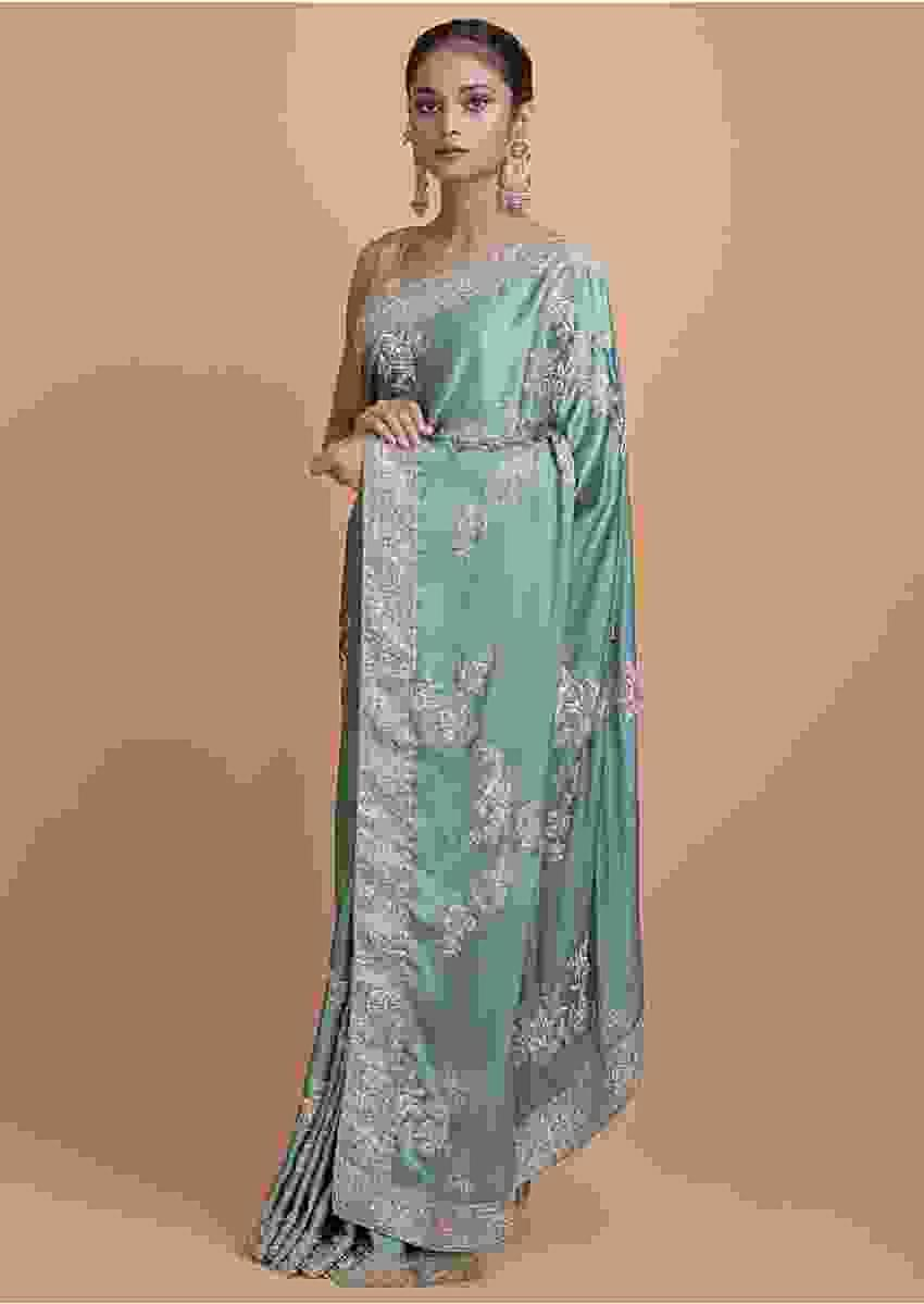 Fern Green Saree In Satin With Embellished Floral Pattern Online - Kalki Fashion