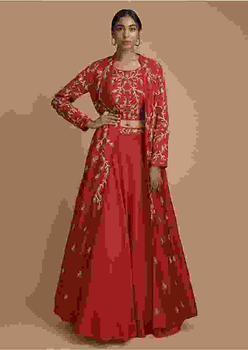 Ferry Red Lehenga In Silk With Crop Top Blouse And Long Jacket In zardosi Embroidery Online - Kalki Fashion