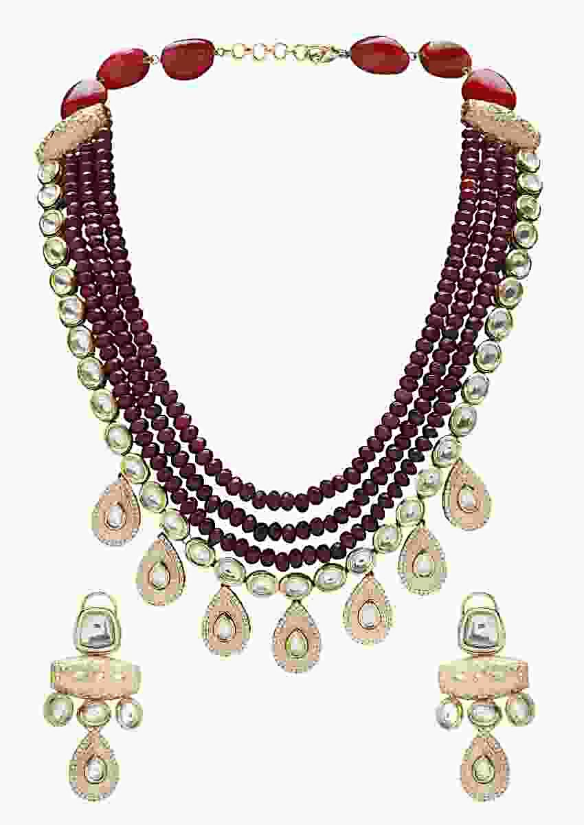 Festive Red Beads Layered Necklace Set With Kundan  Online - Joules By Radhika