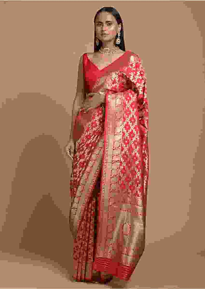 Fiery Red Banarasi Saree In Silk With Woven Mesh Jaal Online - Kalki Fashion