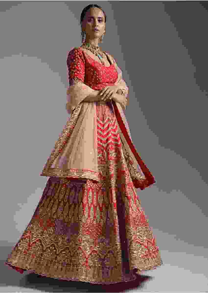 Fiery Red Lehenga Choli In Raw Silk With Heavy Zardosi And Thread Work In Mughal And Floral Design Online - Kalki Fashion