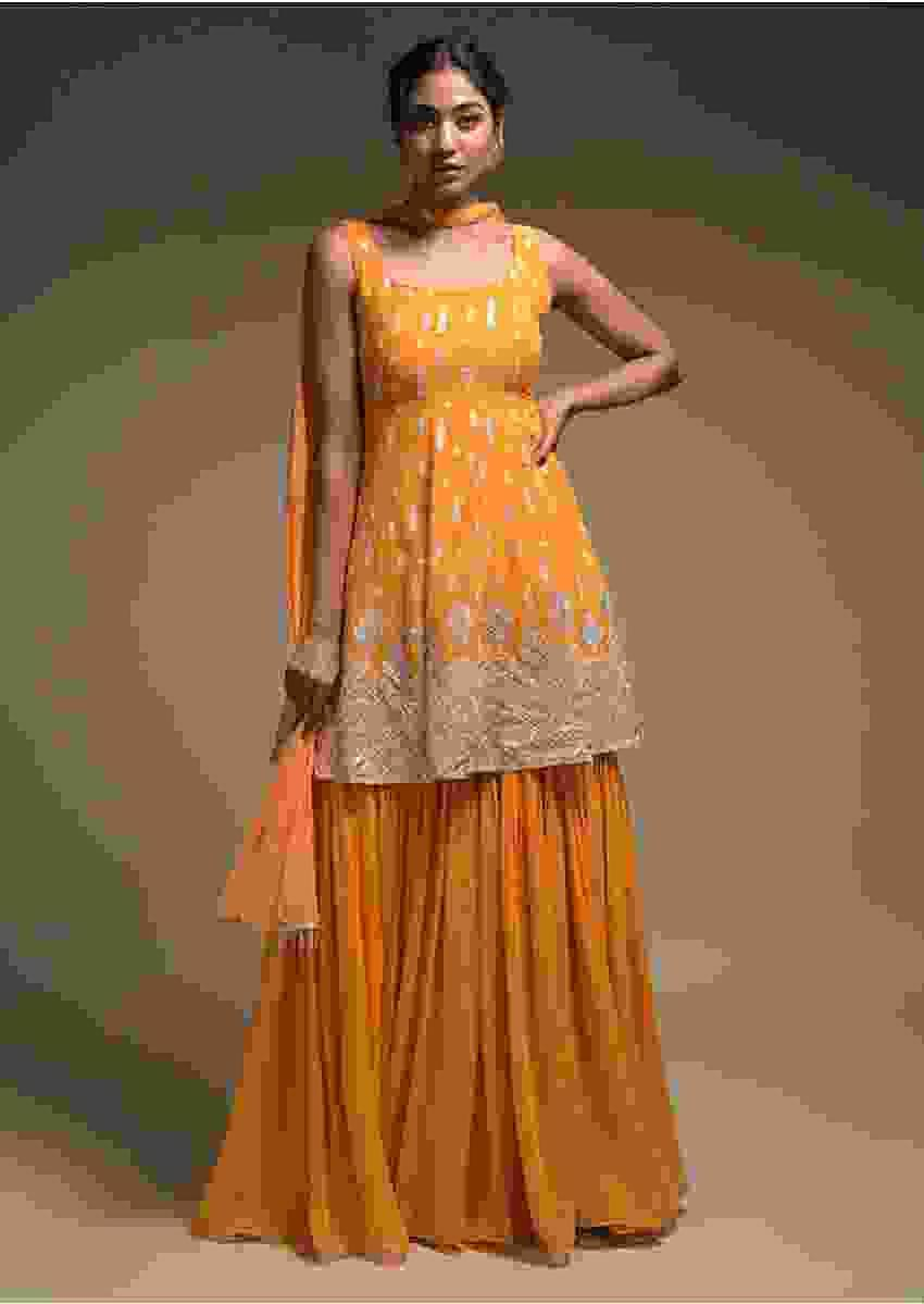 Fire Yellow Sharara Suit In Georgette With Resham Work In Leaf Buttis And Chevron Pattern Online - Kalki Fashion