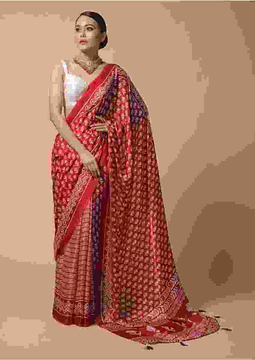Floral And Batik Printed Red Cotton Saree Online - Kalki Fashion