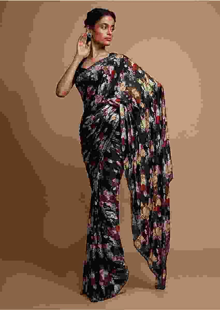 Floral digital printed black saree with applique work Online - Kalki Fashion