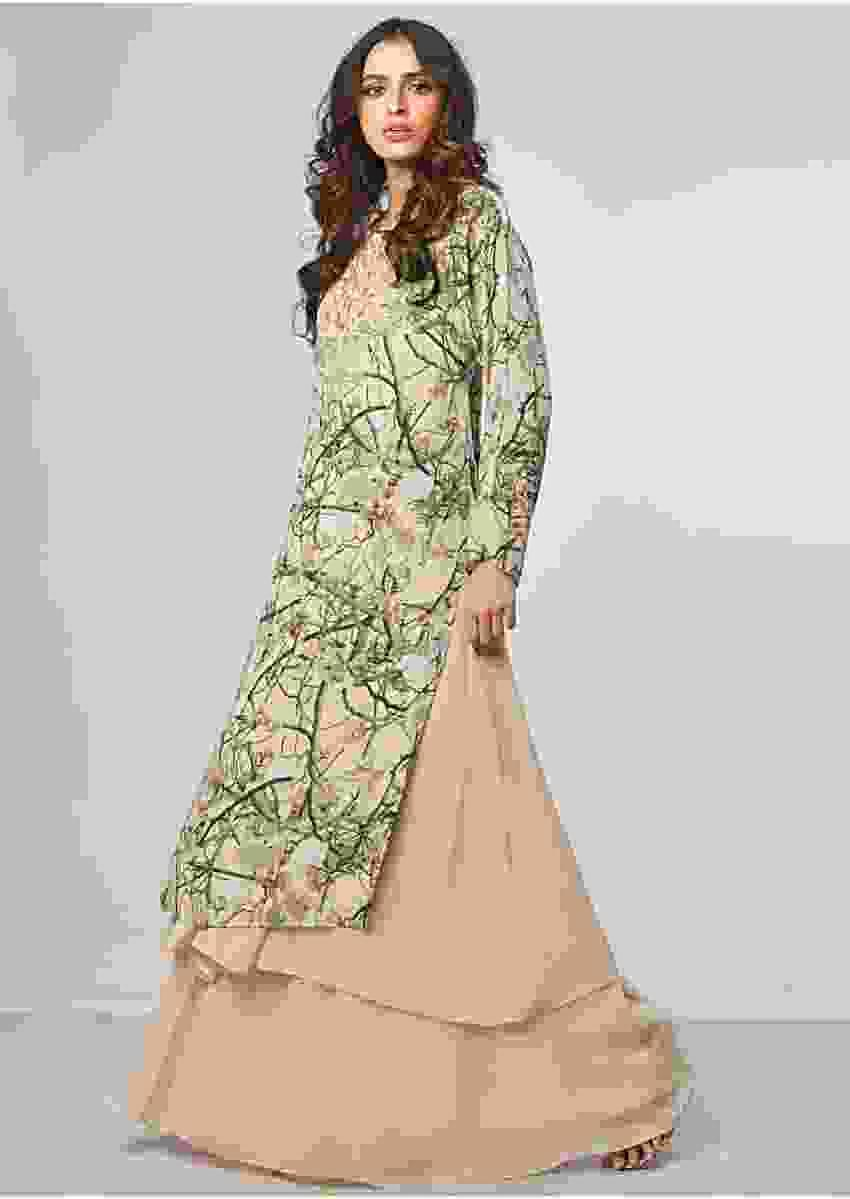 Floral printed suit with cream beige under layer and flared palazzo