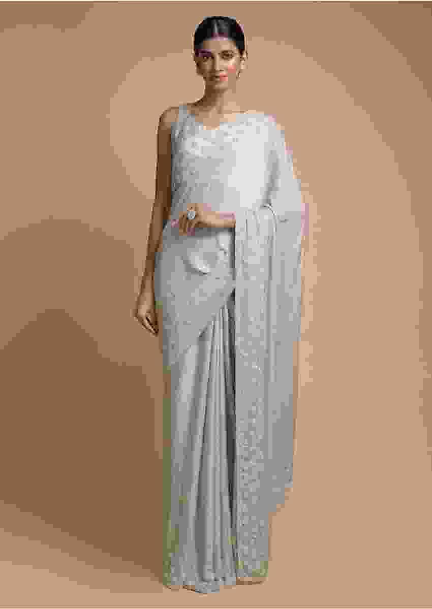 Fog Grey Saree In Chiffon Blend With Beads Embellished Buttis And Kundan Work Online - Kalki Fashion