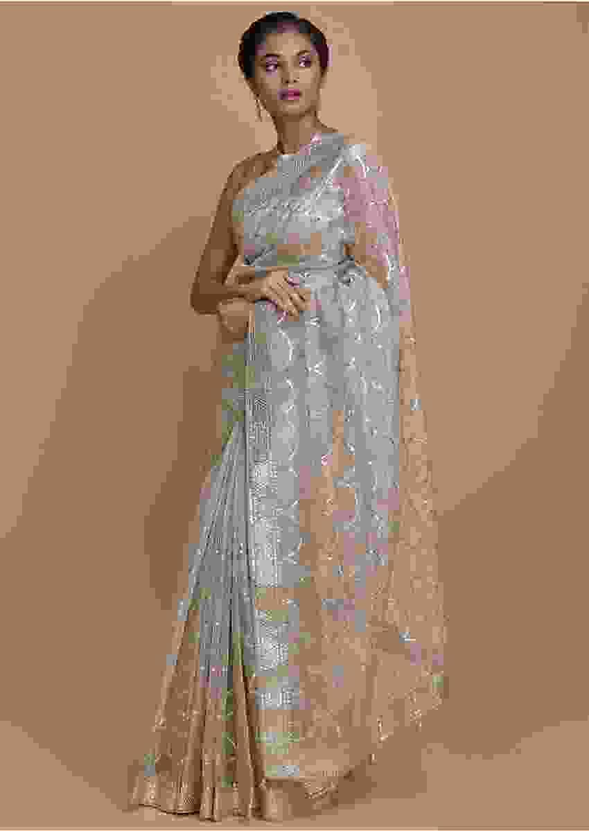 Fog Grey Saree In Organza Silk Adorned With Gotta Patches In Scallop Pattern Online - Kalki Fashion