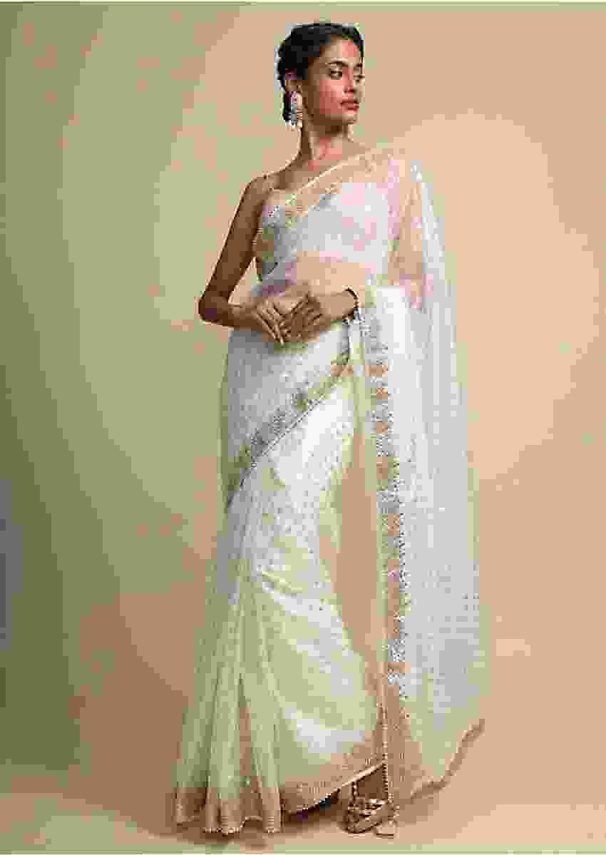 Foil Printed Ivory Organza Saree With Gotta Embroidered Border Online - Kalki Fashion