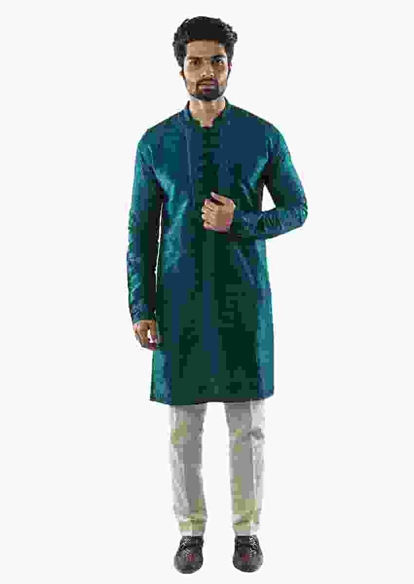 Forest Green Hand Embroidered Kurta Set Online - Kalki Fashion