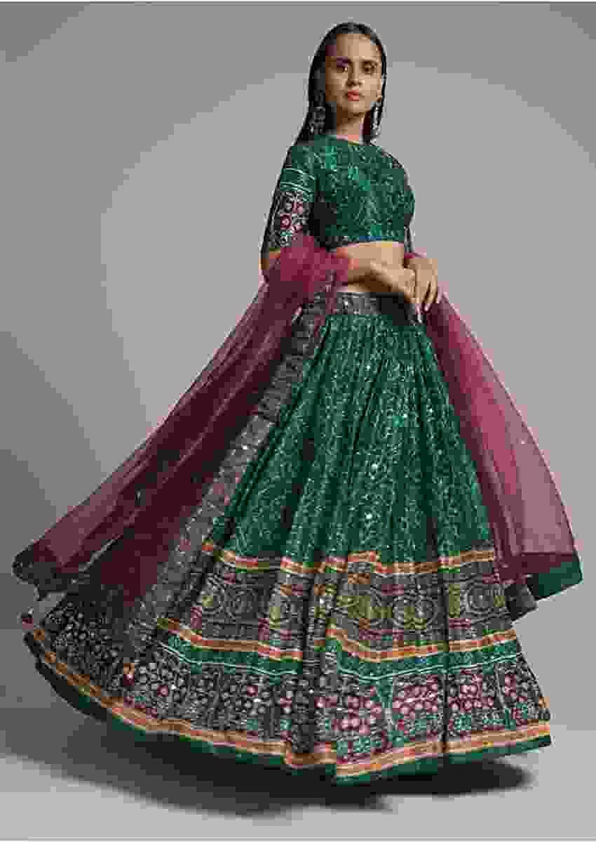 Forest Green Lehenga Choli In Silk With Bandhani Print And Patola Border Online - Kalki Fashion