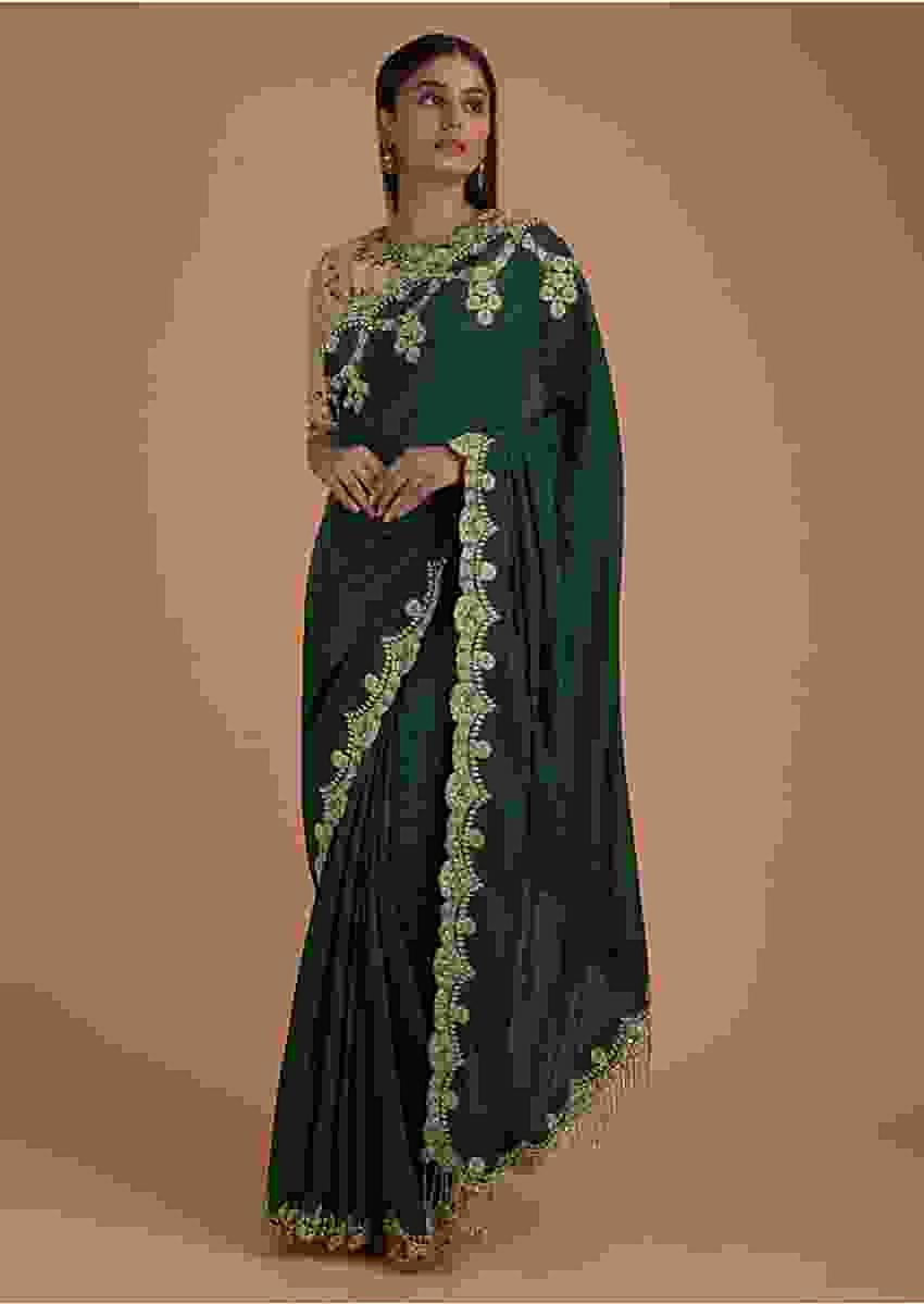 Forest Green Saree In Cotton And Gold Blouse With Floral Embroidery Online - Kalki Fashion