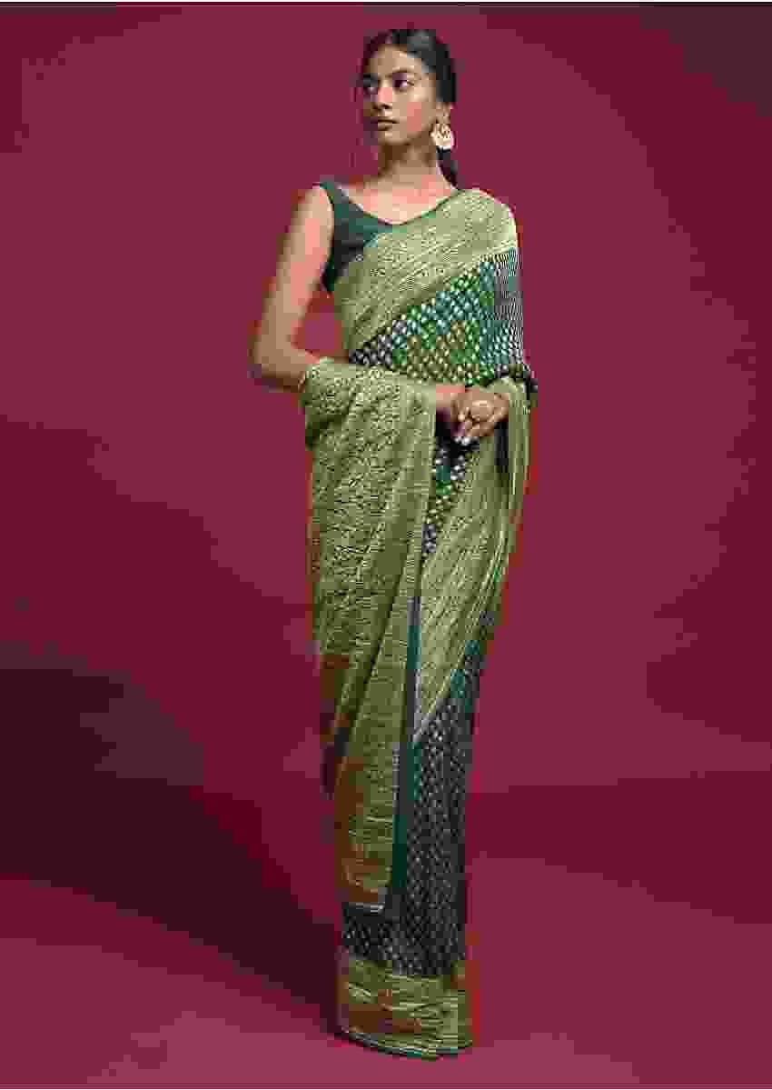 Forest Green Saree In Georgette With Weaved Buttis And Paisley Weaved Border Online - Kalki Fashion