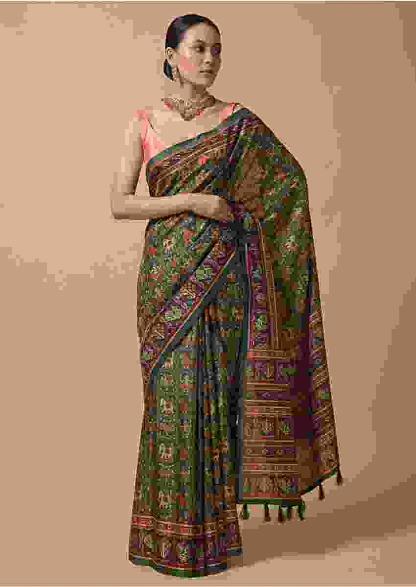 Forest Green Saree In Silk With Printed Patola Jaal Online - Kalki Fashion