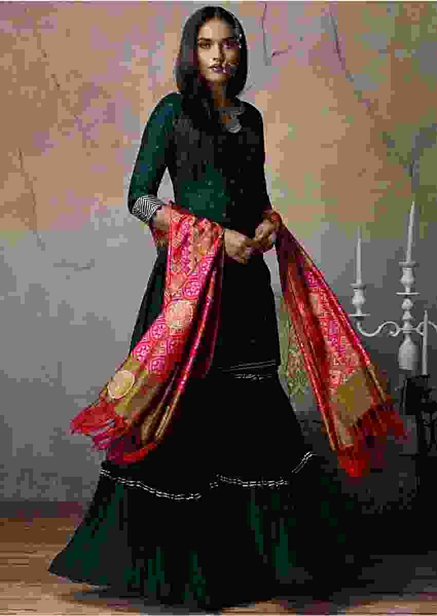 Forest Green Sharara Suit With Badla Work And Magenta Patola Printed Dupatta Online - Kalki Fashion