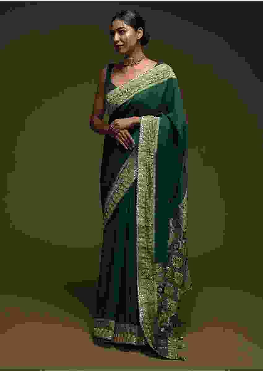 Forest Green Saree In Silk Blend With Gotta Patti Embroidered Buttis And Woven Border Online - Kalki Fashion