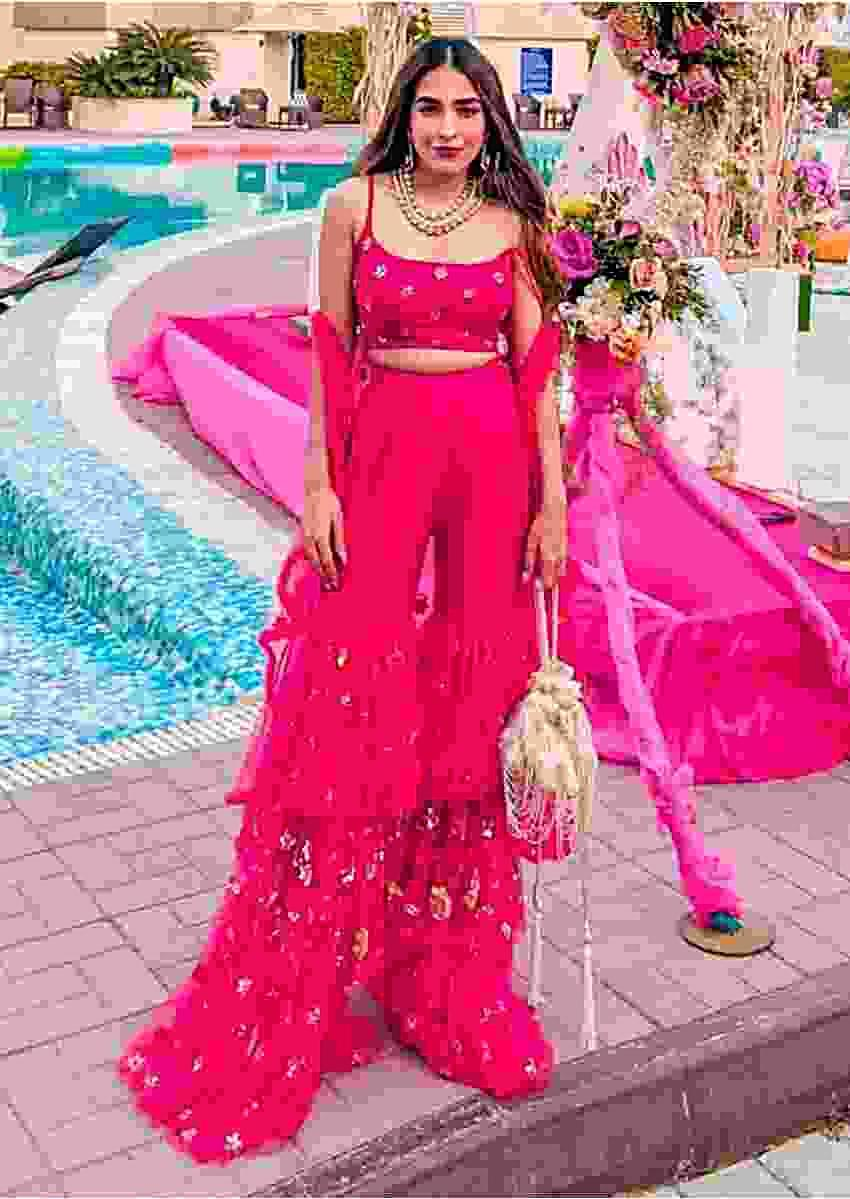 Tanya Sharma in Kalki french pink layer sharara and crop top with net jacket