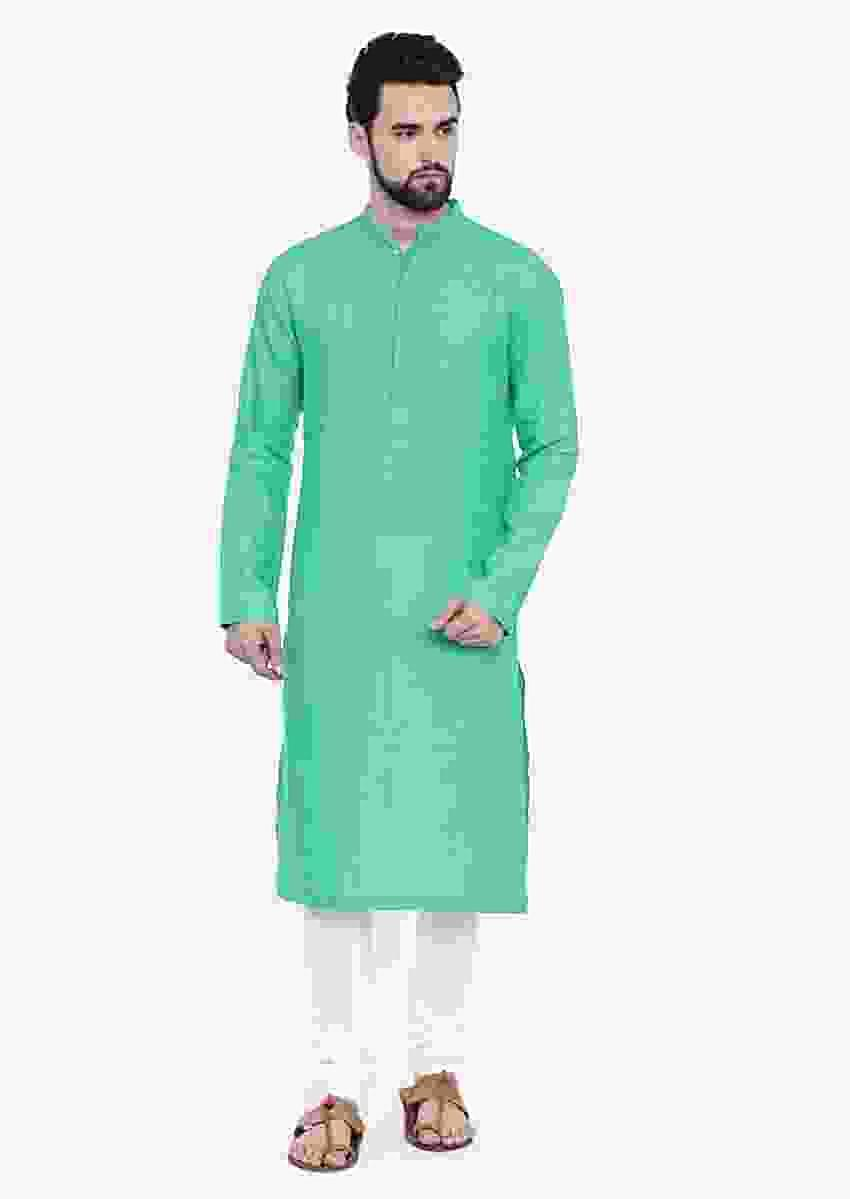 Fresh Aqua Green Kurta And Churidar Set In Linen With Self Toned Running Stitches On The Yoke By Mayank Modi