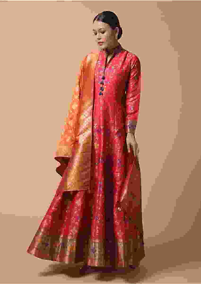 Fuchsia Anarkali Suit In Silk With Woven Patola Design And Orange Banarasi Dupatta Online - Kalki Fashion