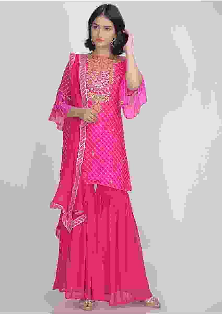 Fuchsia Sharara Suit In Georgette With Lehariya Print Online - Kalki Fashion