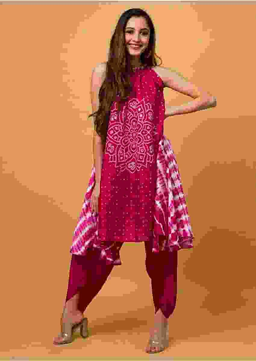 Fuchsia Dhoti Suit In Satin Silk With Bandhani And Lehariya Print Online - Kalki Fashion