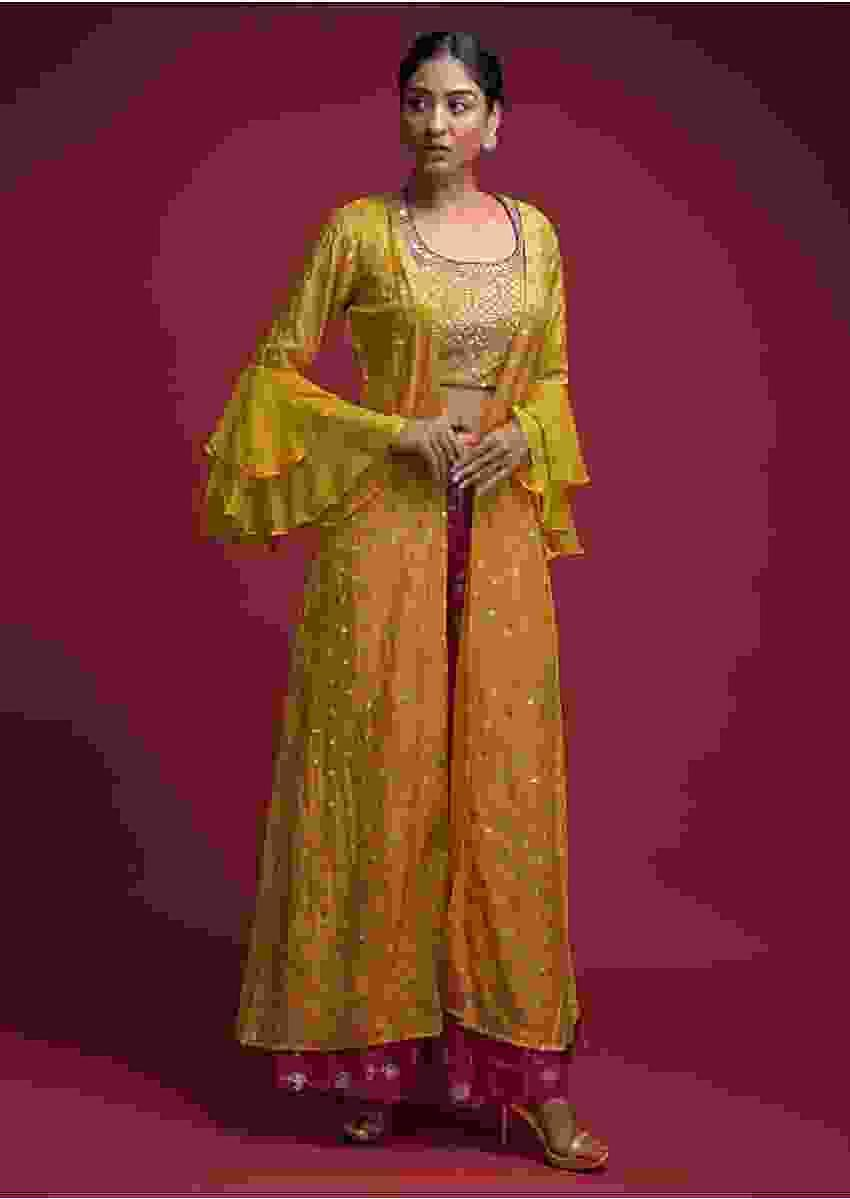Fuchsia Palazzo Suit In Brocade Silk With Yellow Crop Top And Long Jacket With Ruffle Sleeves Online - Kalki Fashion