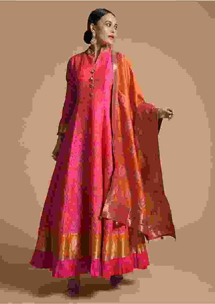 Fuchsia Pink Anarkali Suit In Cotton Silk With Bandhani Print And Woven Brocade Border Online - Kalki Fashion