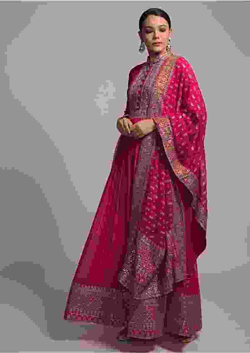 Fuchsia Pink Anarkali Suit In Georgette With Zardozi And Zari Embroidery Work Online - Kalki Fashion