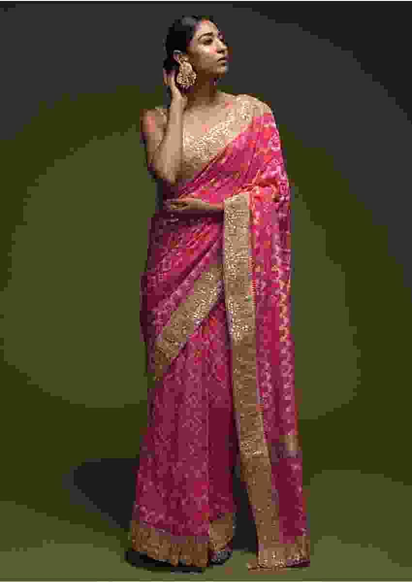 Fuchsia Pink Banarasi Saree In Georgette With Woven Checks And Bandhani Design Online - Kalki Fashion
