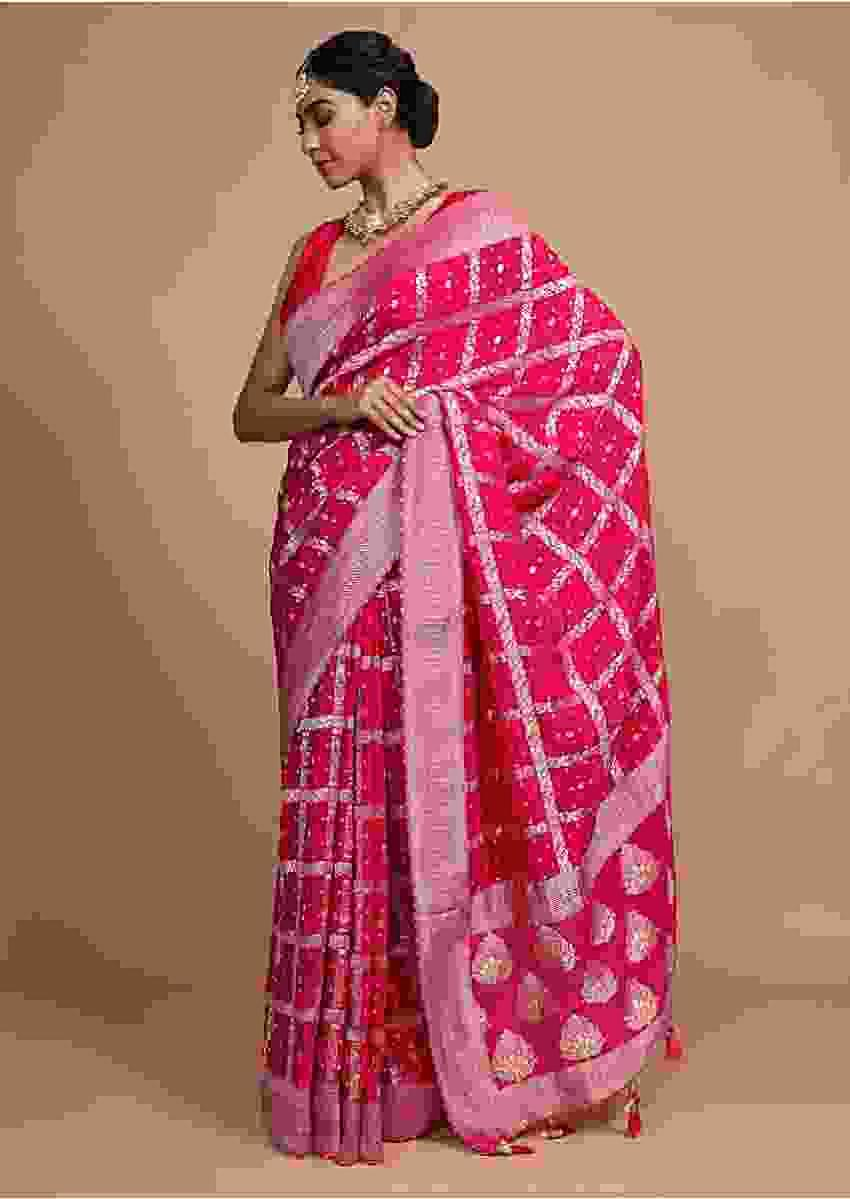 Fuchsia Pink Banarsi Saree With Weaved Checks And Bandhani Print Online - Kalki Fashion