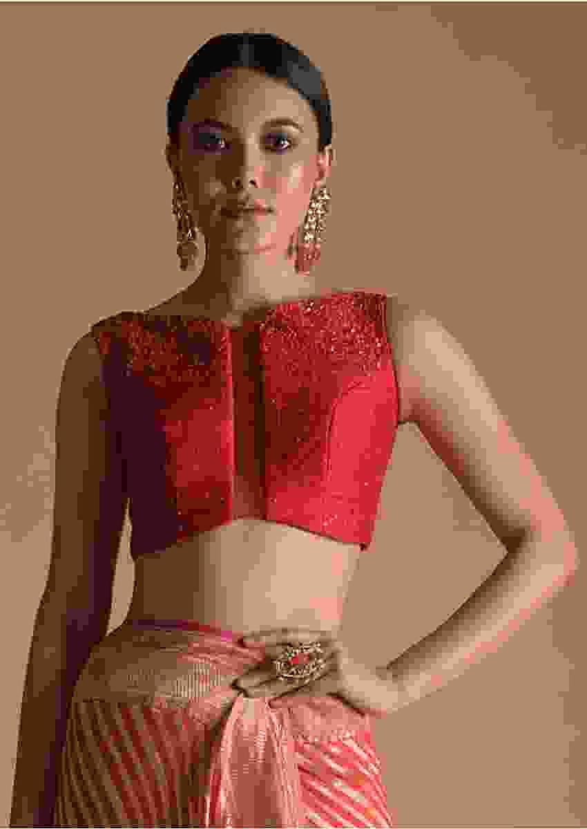 Fuchsia Pink Blouse In Raw Silk With Sequins Work, Sheer Center Cut Out And Criss-Cross Tie Up Back Online - Kalki Fashion