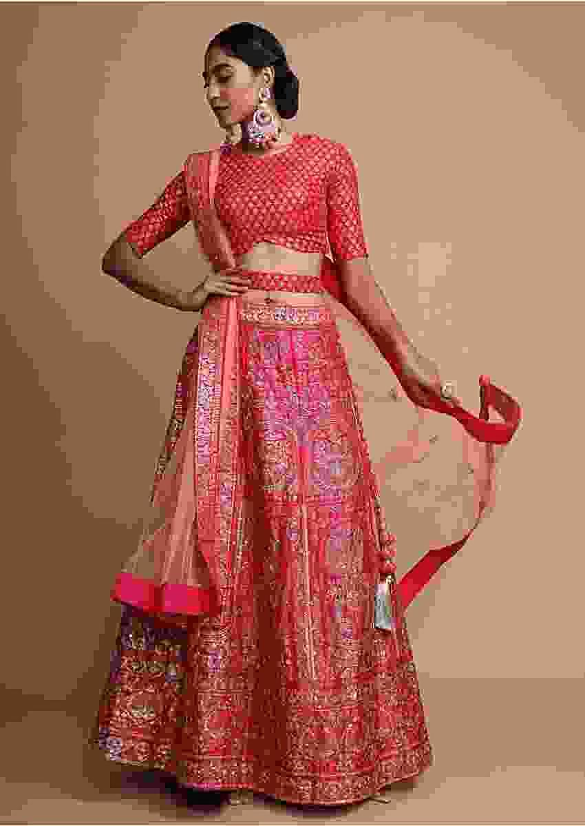 Fuchsia Pink Lehenga Choli With Foil Printed Heritage Floral Design And Gotta Patti Highlights Online - Kalki Fashion
