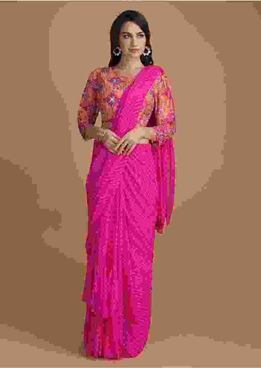 Fuchsia Pink Ready Pleated Ruffle Saree With Lehariya Print And Patola Printed Blouse Online - Kalki Fashion