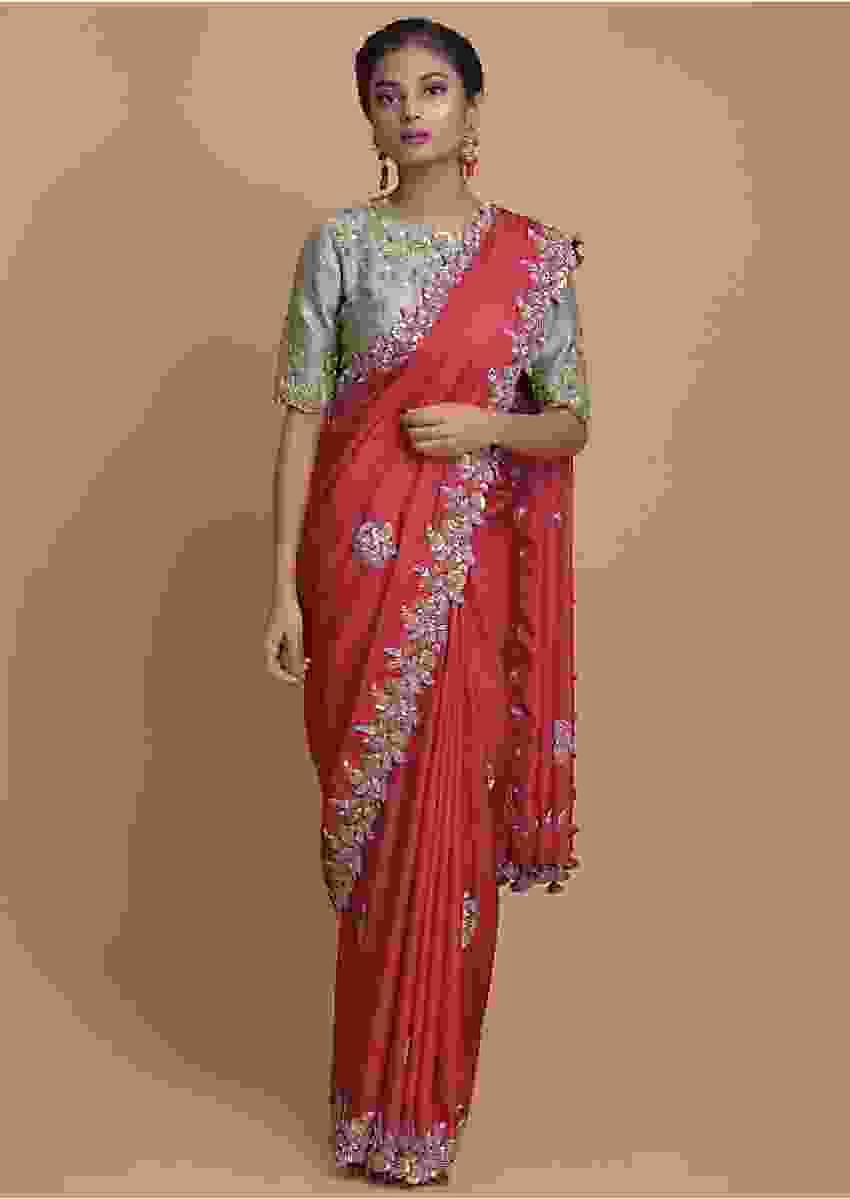 Fuchsia Pink Saree In Satin Silk With Embroidered Floral Buttis And Border Online - Kalki Fashion