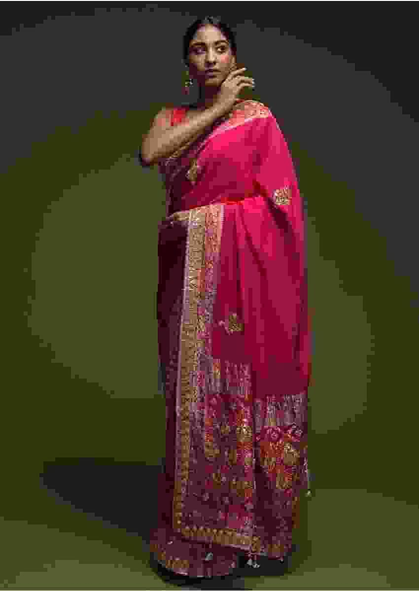 Magenta Pink Saree In Faux Silk With Woven Floral Border And Gotta Patti Embroidered Floral Motifs  Online - Kalki Fashion