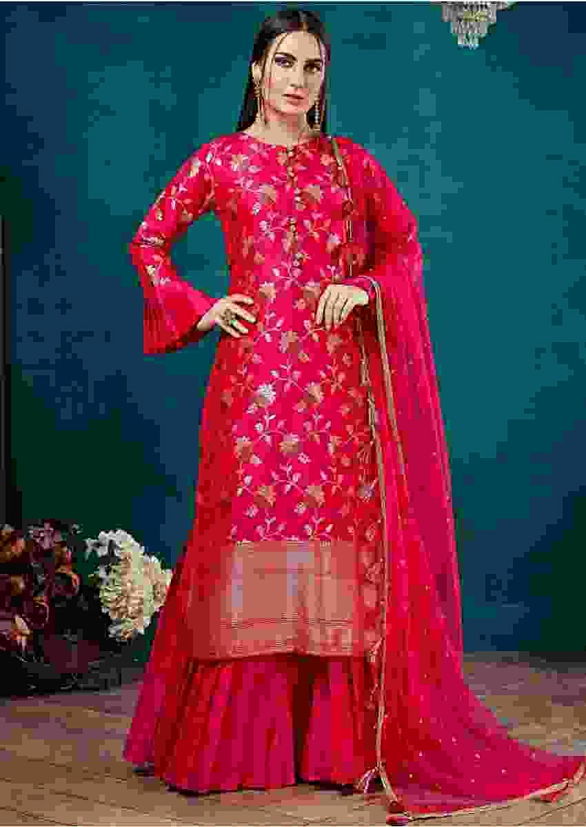 Fuchsia Pink Sharara Suit In Silk With Weaved Floral Jaal Online - Kalki Fashion