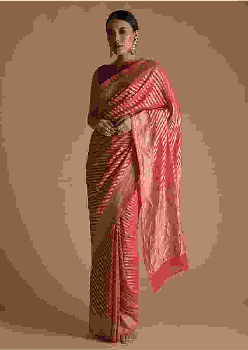 Fuchsia Pink,Red And Orange Shaded Khadi Saree With Golden Weaved Stripes Online - Kalki Fashion