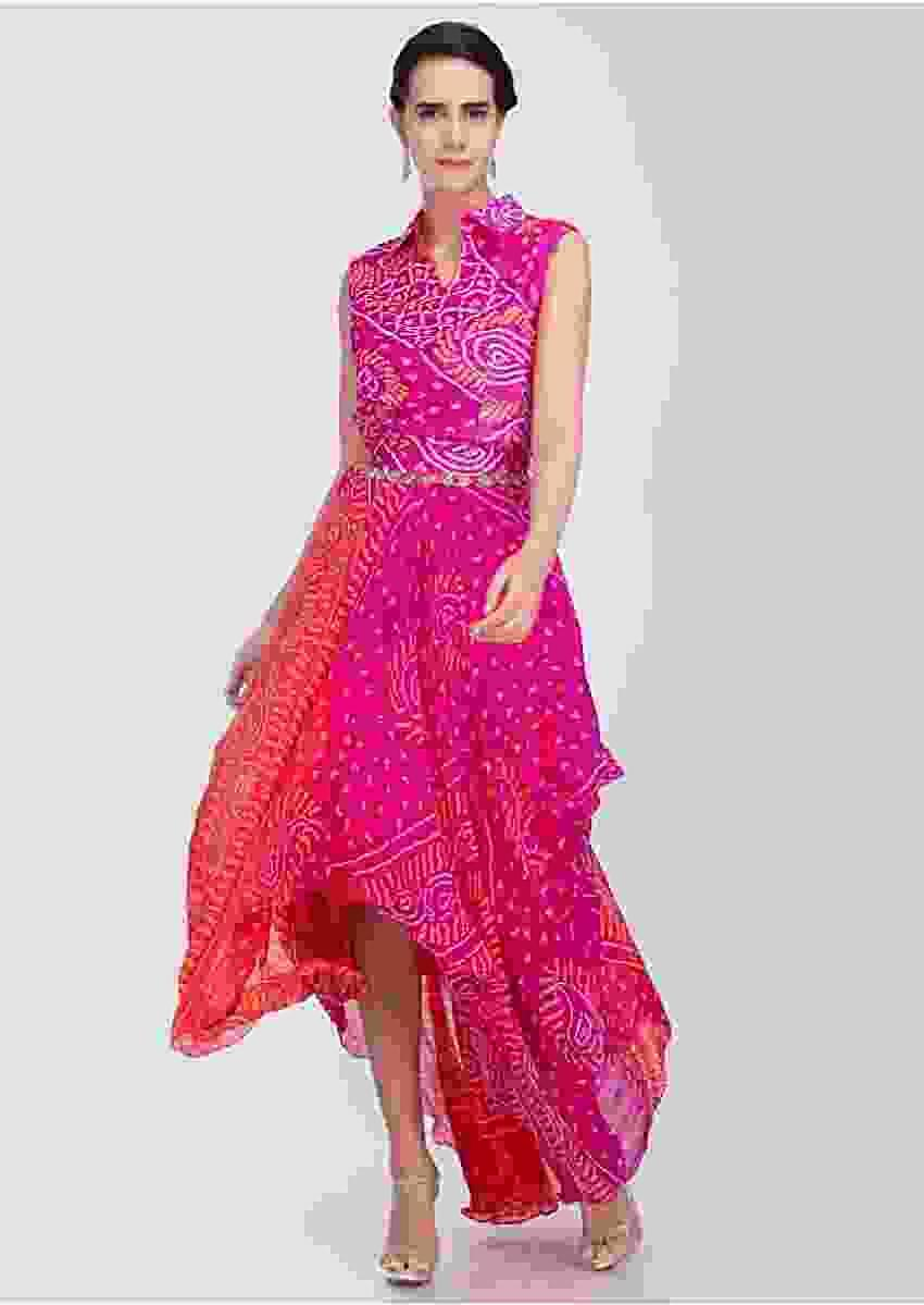 Fuschia Pink And Red Tunic Dress With Bandhani Print Online - Kalki Fashion