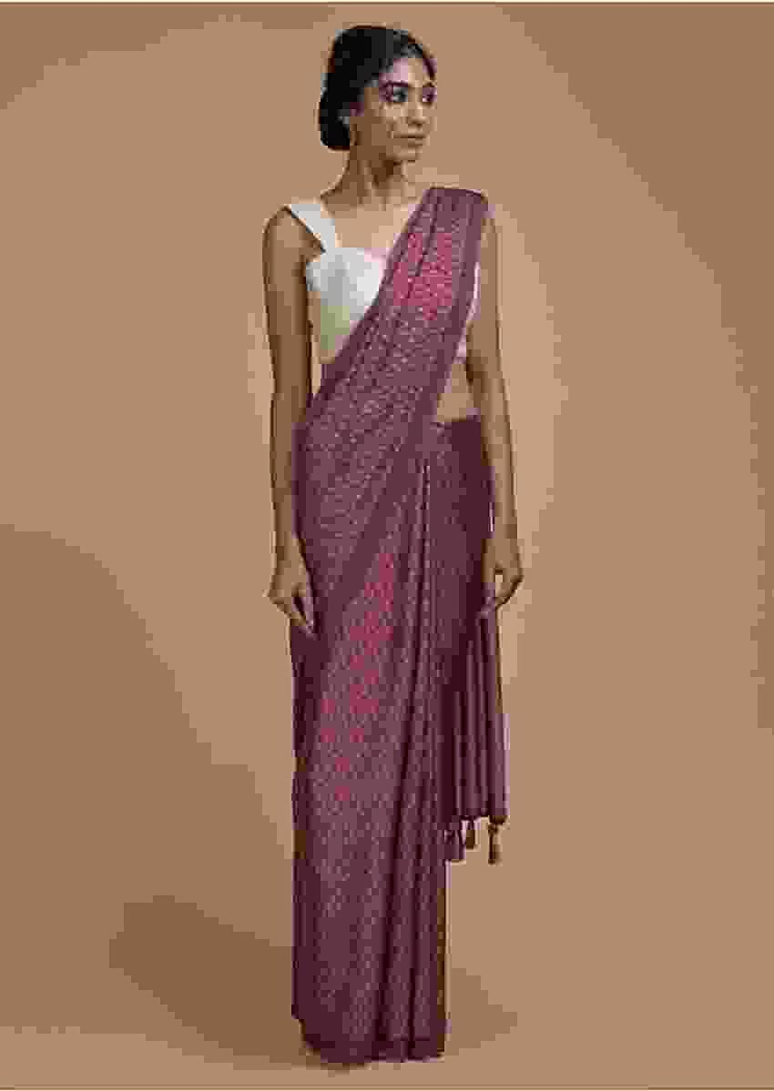 Garnet Pink Saree In Satin Blend With Printed Floral Buttis All Over Online - Kalki Fashion