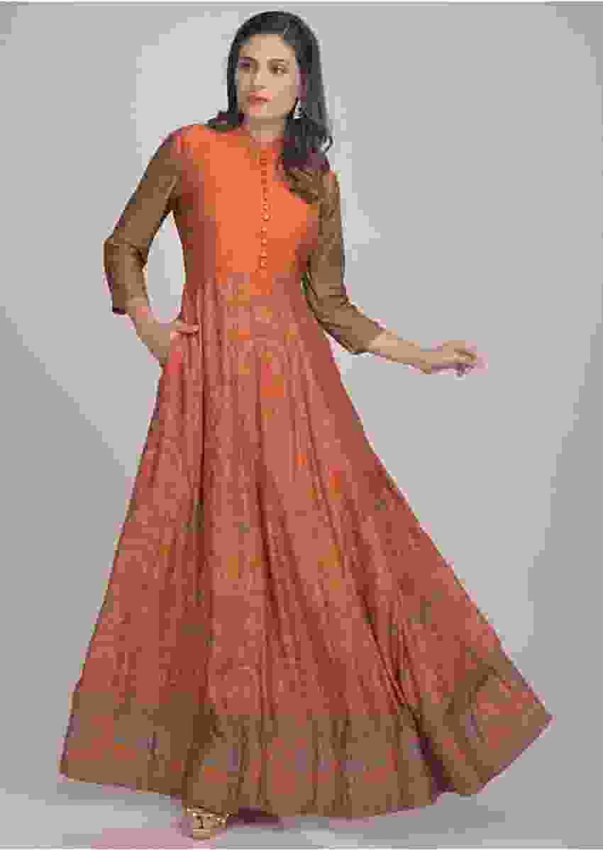 Ginger Orange Anarkali Dress In Cotton With Patola Print Online - Kalki Fashion