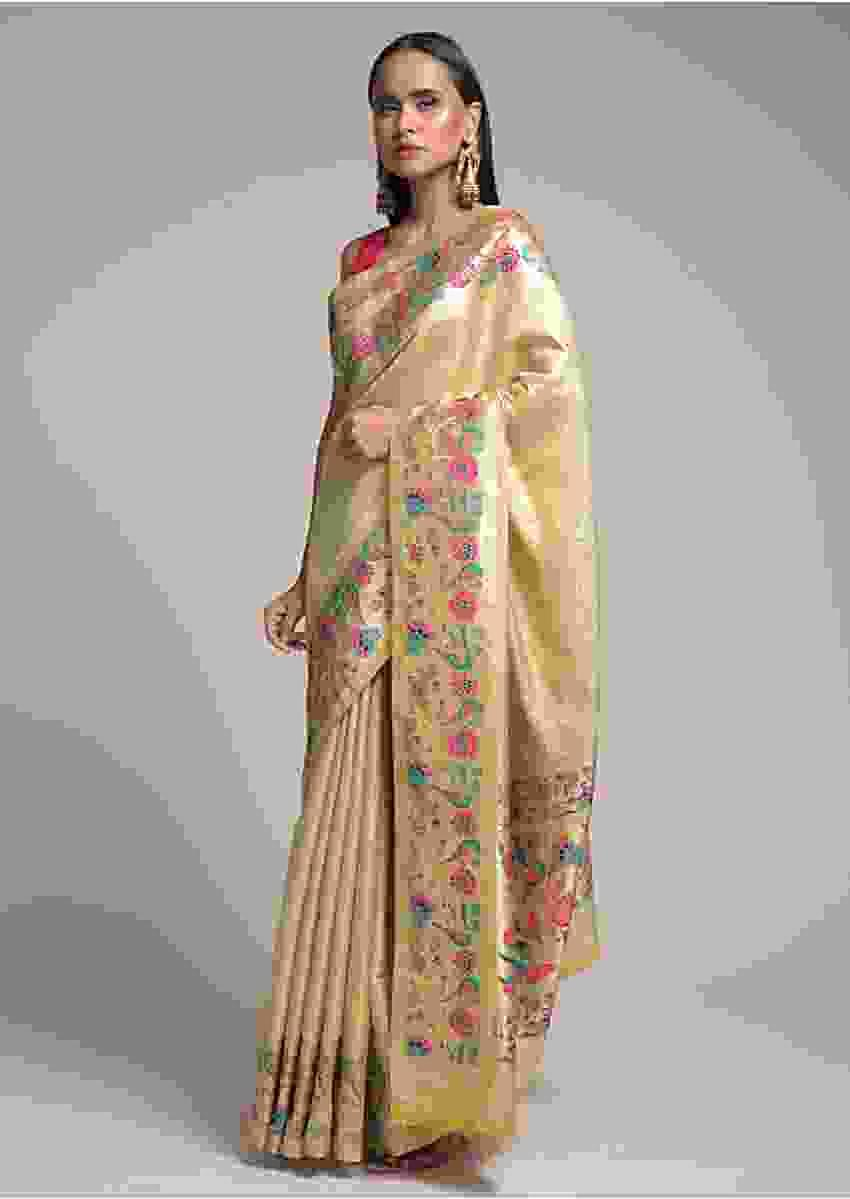 Gold Banarasi Saree In Silk With Self Jaal And Colorful Woven Birds And Flowers On The Border Online - Kalki Fashion