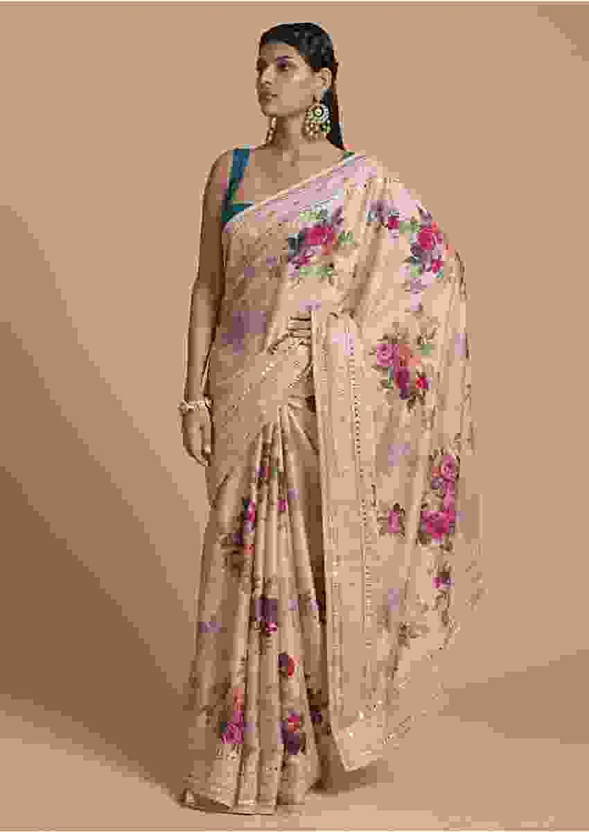 Gold Beige Saree In Satin Crepe With Floral Print And Gotta Patti Embroidered Border Online - Kalki Fashion