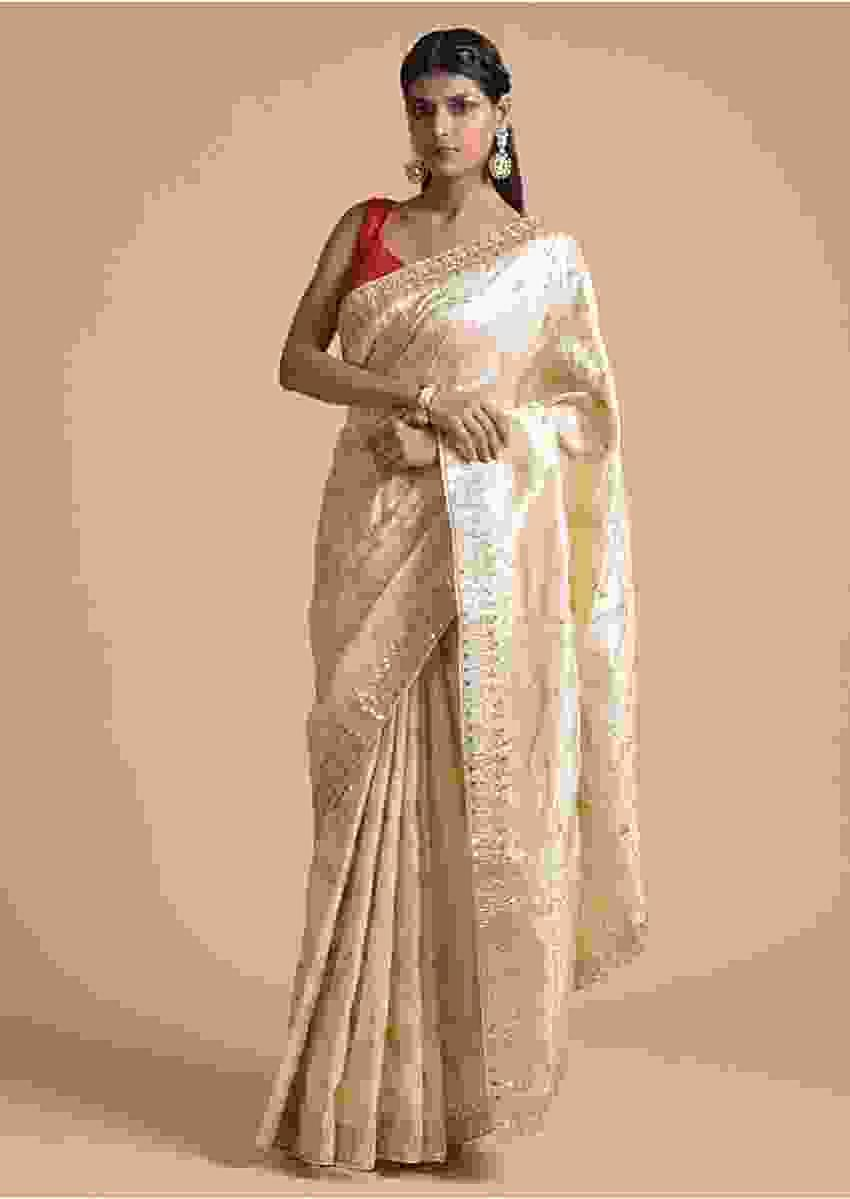Gold Beige Saree In Silk With Brocade Floral Jaal And Cut Dana Highlights Online - Kalki Fashion