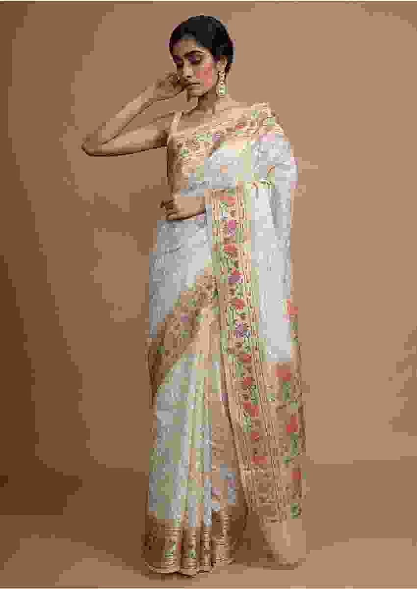 Gold Beige Saree In Zari Kota Silk With Hand Embroidered Floral Jaal Using Resham Threads Online - Kalki Fashion
