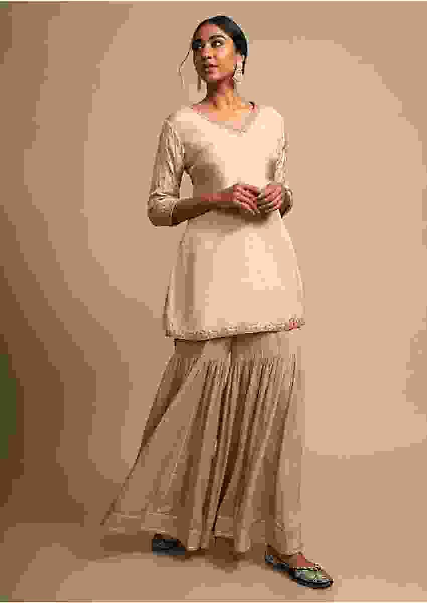 Gold Beige Sharara Suit With Gotta Patti Highlights Online - Kalki Fashion
