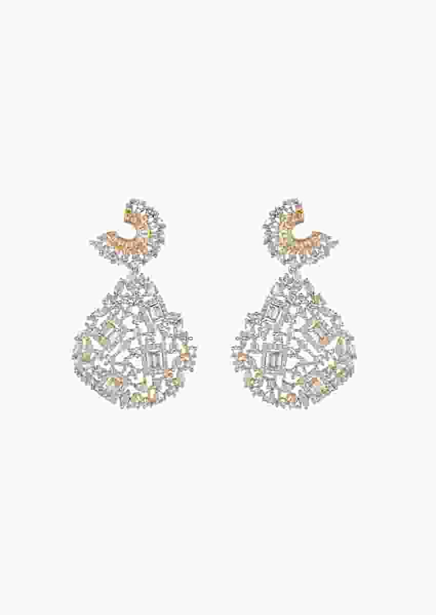 Gold Finish Earrings Studded With Geometric Cut Faux Diamonds In Drop Shape By Aster